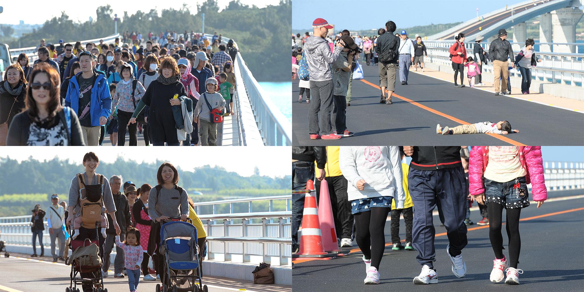 伊良部大橋開通ウォーキングの参加者さんたち