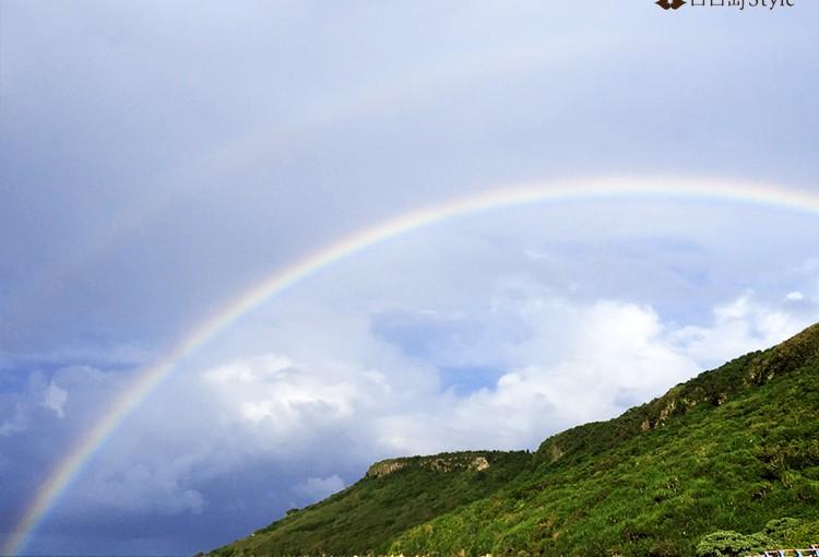 新城海岸のダブルの虹