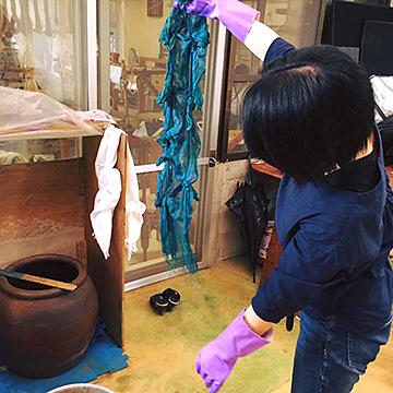 宮古上布工房訪問&藍染め上布試着体験